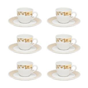 Conjunto de 6 Xícaras Pequenas 75ml Com Pires Coup Golden