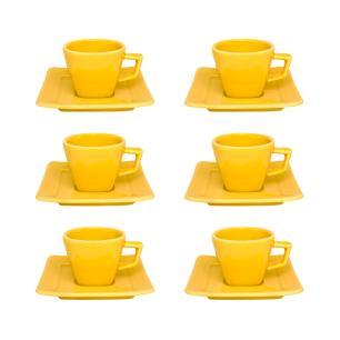 Conjunto de 6 Xícaras Pequenas 75ml Com Pires Nara Yellow