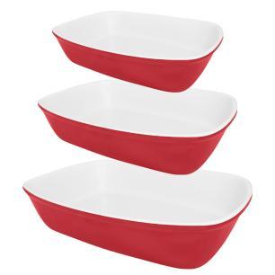 Conjunto De 3 Refratárias Bake Vermelha e Branca