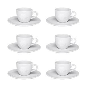 Conjunto de 6 Xícaras Pequenas 75ml Com Pires Coup Blanc