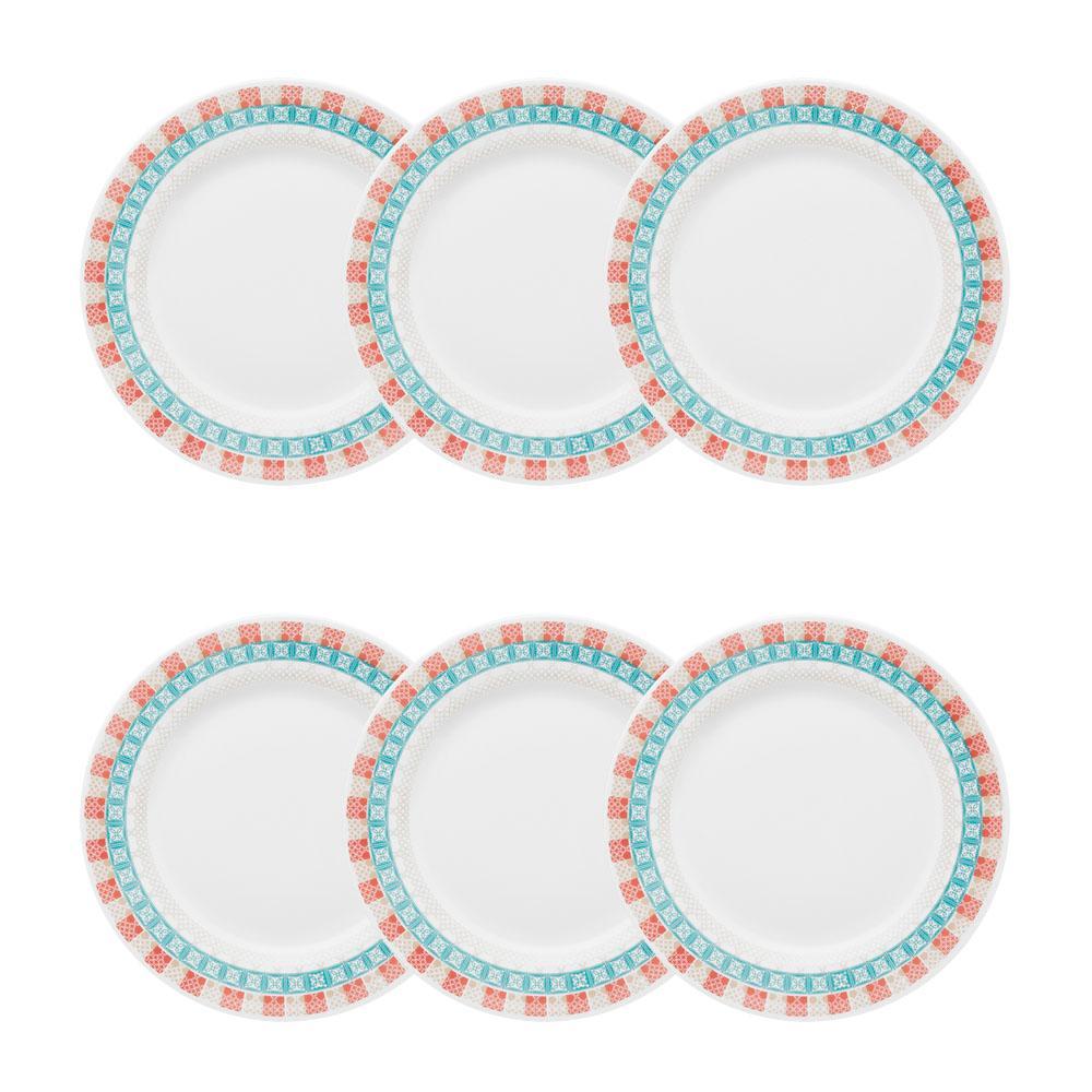 Conjunto de 6 Pratos Sobremesa 22cm Flamingo Colors