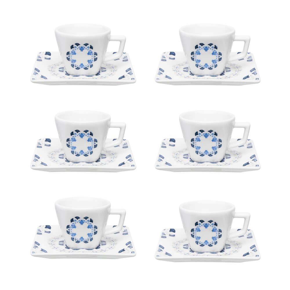 Conjunto de 6 Xícaras Pequenas 75ml Com Pires Quartier Babet