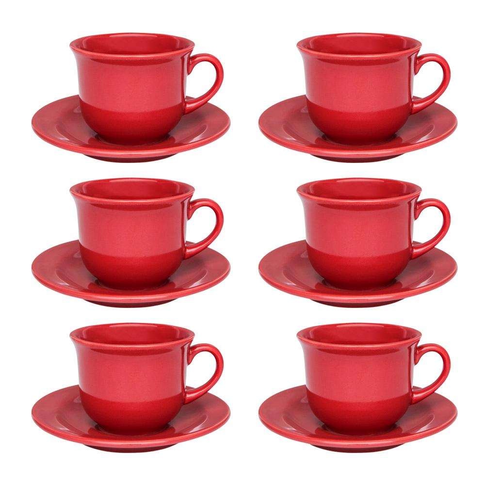 Conjunto de 6 Xícaras Grandes 200ml Com Pires Floreal Red