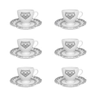 Conjunto de 6 Xícaras Pequenas 75ml Com Pires Soleil Henna