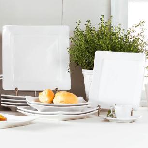 Conjunto de 6 Pratos Sobremesa 21x21cm Nara White