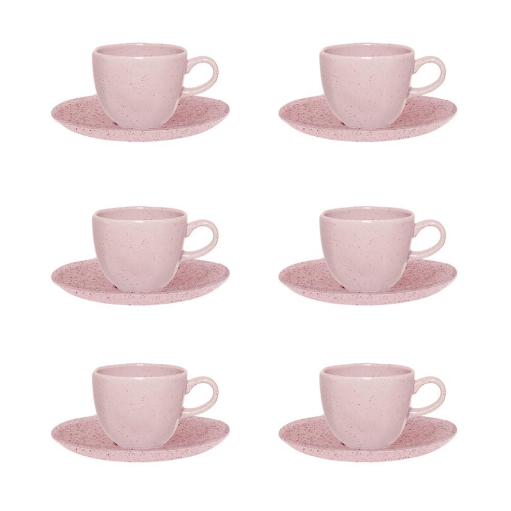 Conjunto de 6 Xícaras Pequenas 75ml Com Pires Ryo Pink Sand