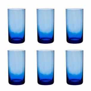 Jogo de 6 Copos Coloridos De Cristal Água 235ml Azul Claro