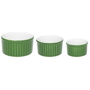 Conjunto de 3 Tigelas Ramequin Branco e Verde