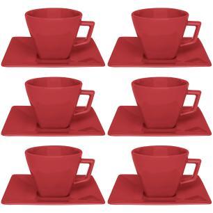 Conjunto de 6 Xícaras Grandes 200ml Com Pires Quartier Red