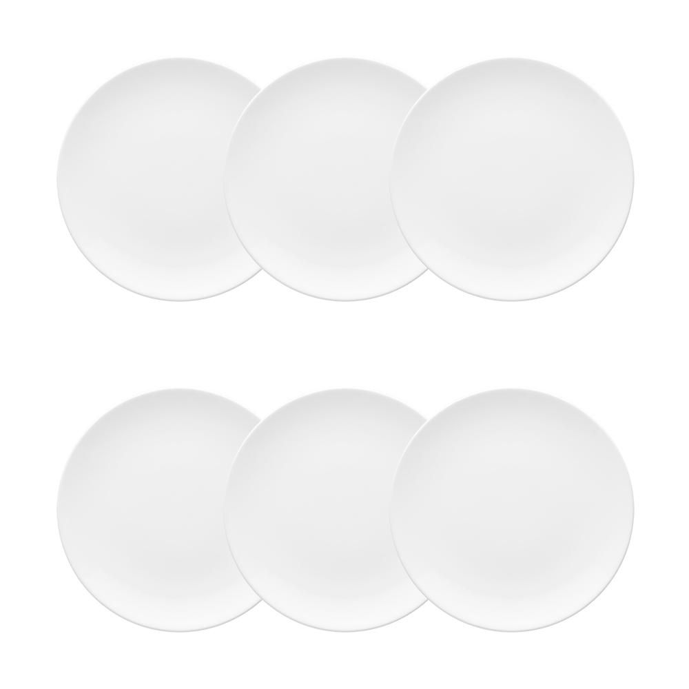 Conjunto de 6 Pratos Sobremesa 21cm Coup White