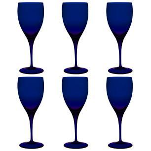 Jogo de 6 Taças De Cristal Vinho Tinto 380ml Azul Intenso