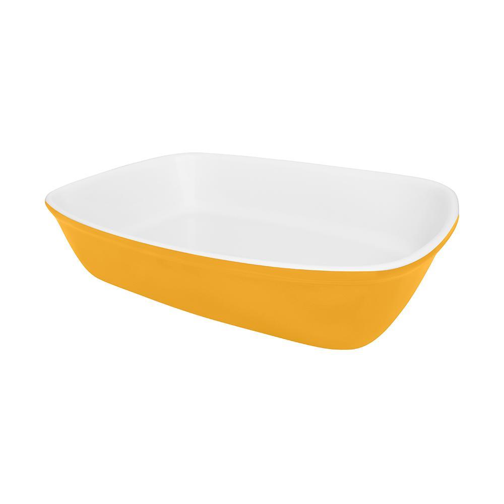 Travessa Refratária Bake Media 26x18x5,6cm Amarela e Branca
