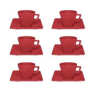 Conjunto de 6 Xícaras Pequenas 75ml Com Pires Quartier Red