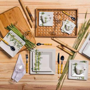 Conjunto de 6 Pratos Sobremesa 20x20cm Quartier Bamboo