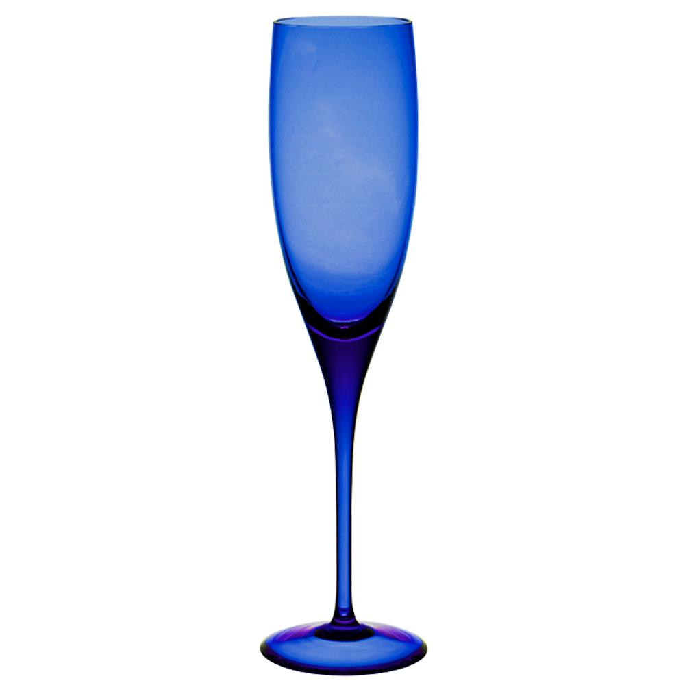 Jogo de 6 Taças De Cristal Espumante 240ml Azul Escuro
