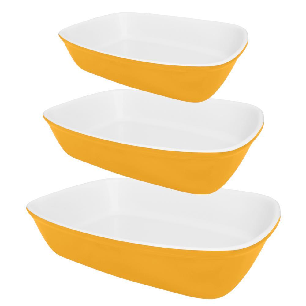Conjunto De 3 Refratárias Bake Amarela e Branca