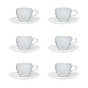Conjunto de 6 Xícaras Pequenas 75ml Com Pires Ryo White