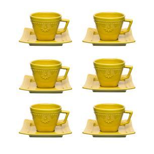 Conjunto de 6 Xícaras Pequenas 65ml Com Pires Provence Minas