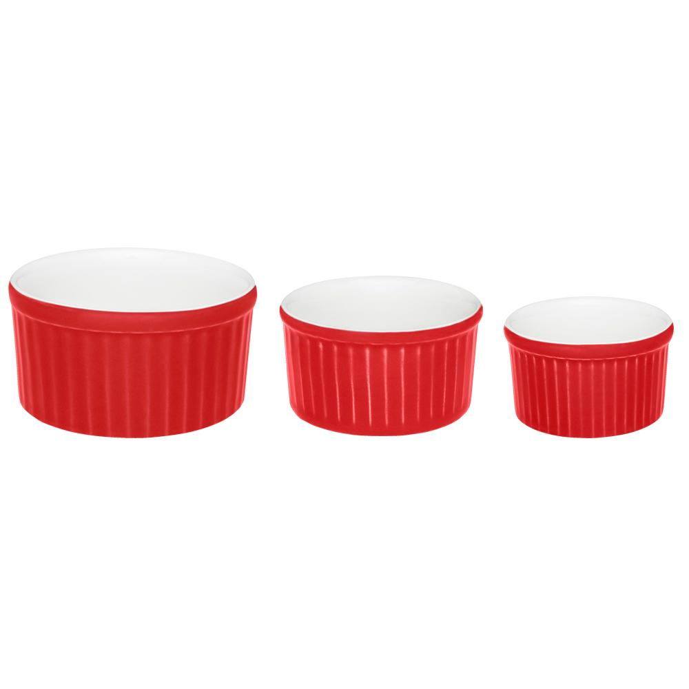 Conjunto de 3 Tigelas Ramequin Branco e Vermelho