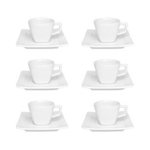 Conjunto de 6 Xícaras Pequenas 75ml Com Pires Nara White