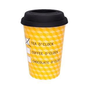 Conjunto de 6 Copos Trip 300ml com tampa Bebidas Quentes Chá
