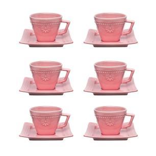 Conjunto de 6 Xícaras Pequenas 65ml C/Pires Provence Vintage