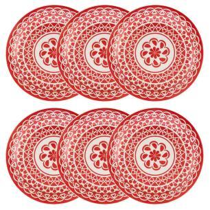 Conjunto de 6 Pratos Rasos 26cm Floreal Renda