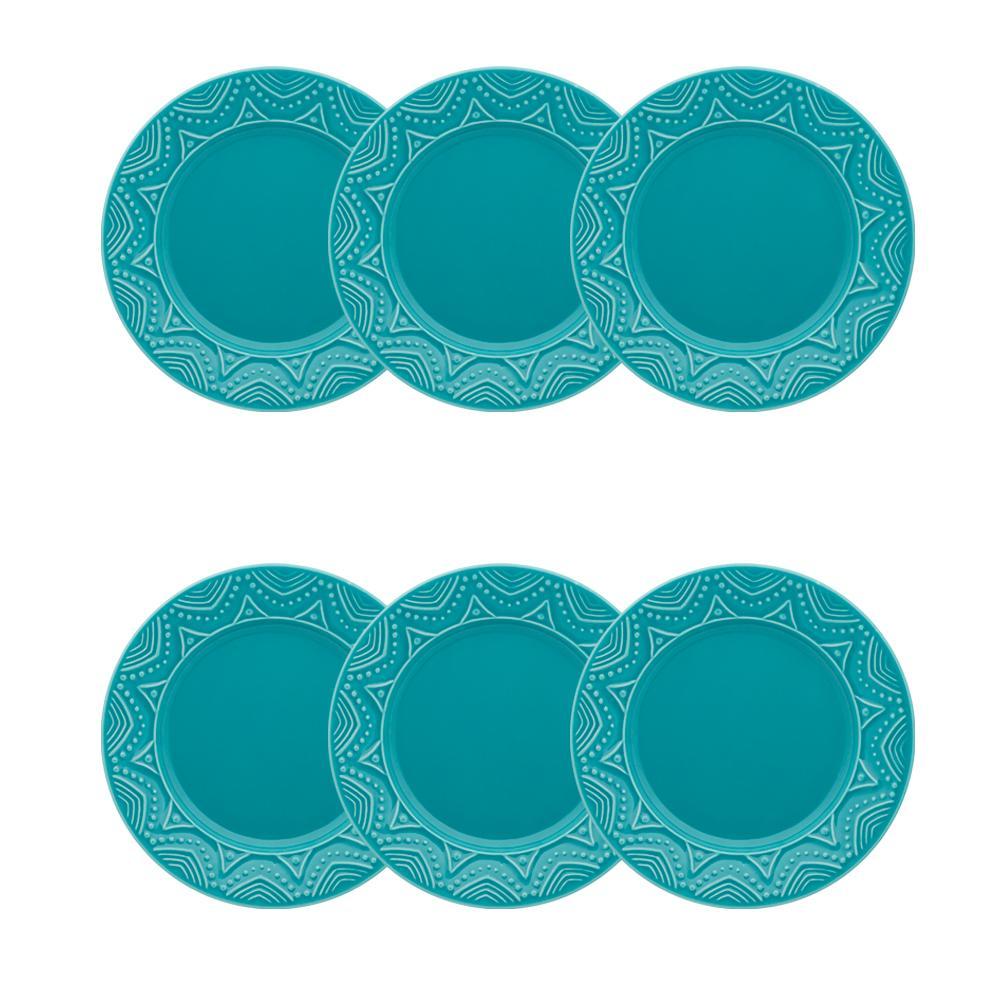Conjunto de 6 Pratos Sobremesa 20cm Serena Turquesa
