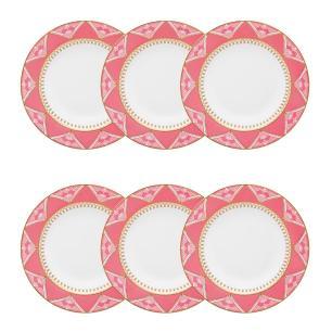 Conjunto de 6 Pratos Fundos 23,5cm Flamingo Macrame