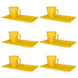 Conjunto de 6 Xícaras Pequenas 65 Ml com Pires Retang Yellow