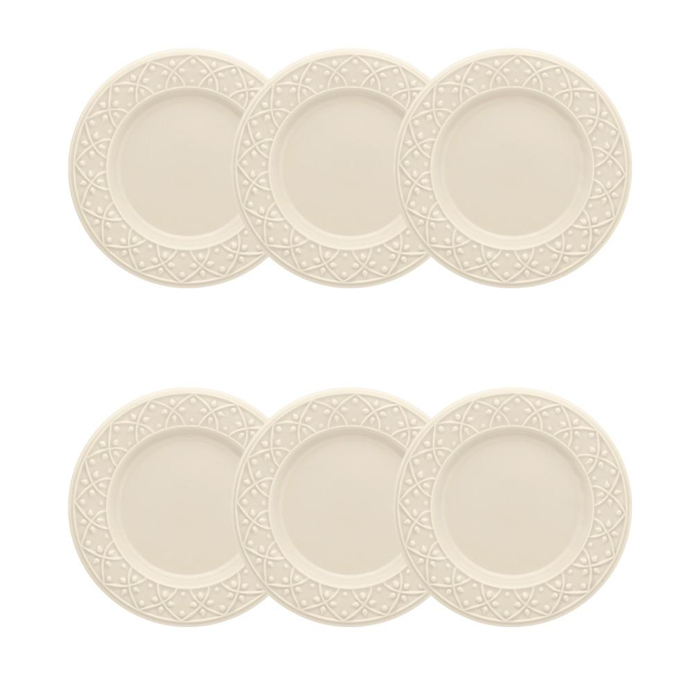 Conjunto de 6 Pratos Sobremesa 20cm Mendi Marfim