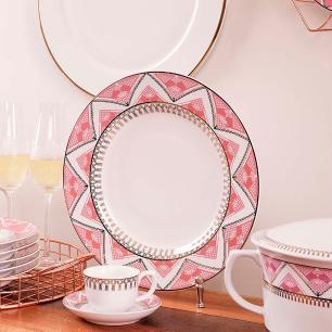 Conjunto de 6 Pratos Rasos 28cm Flamingo Macrame