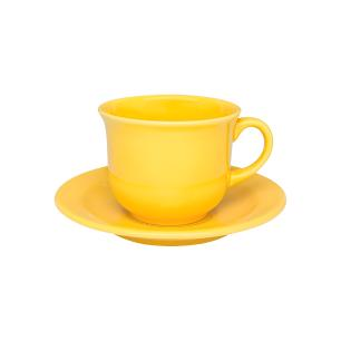 Conjunto de 6 Xícaras Grandes 200ml Com Pires Floreal Yellow