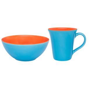 Conjunto Lanche de 2 Peças Bicolor Laranja e Azul