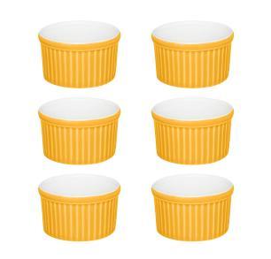 Conjunto de 6 Ramequins 6x3cm 50ml Amarelo e Branco