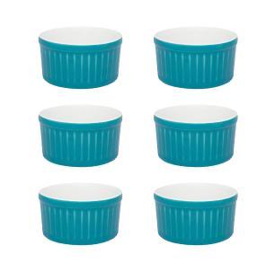 Conjunto de 6 Ramequins 6x3cm 50ml Azul e Branco