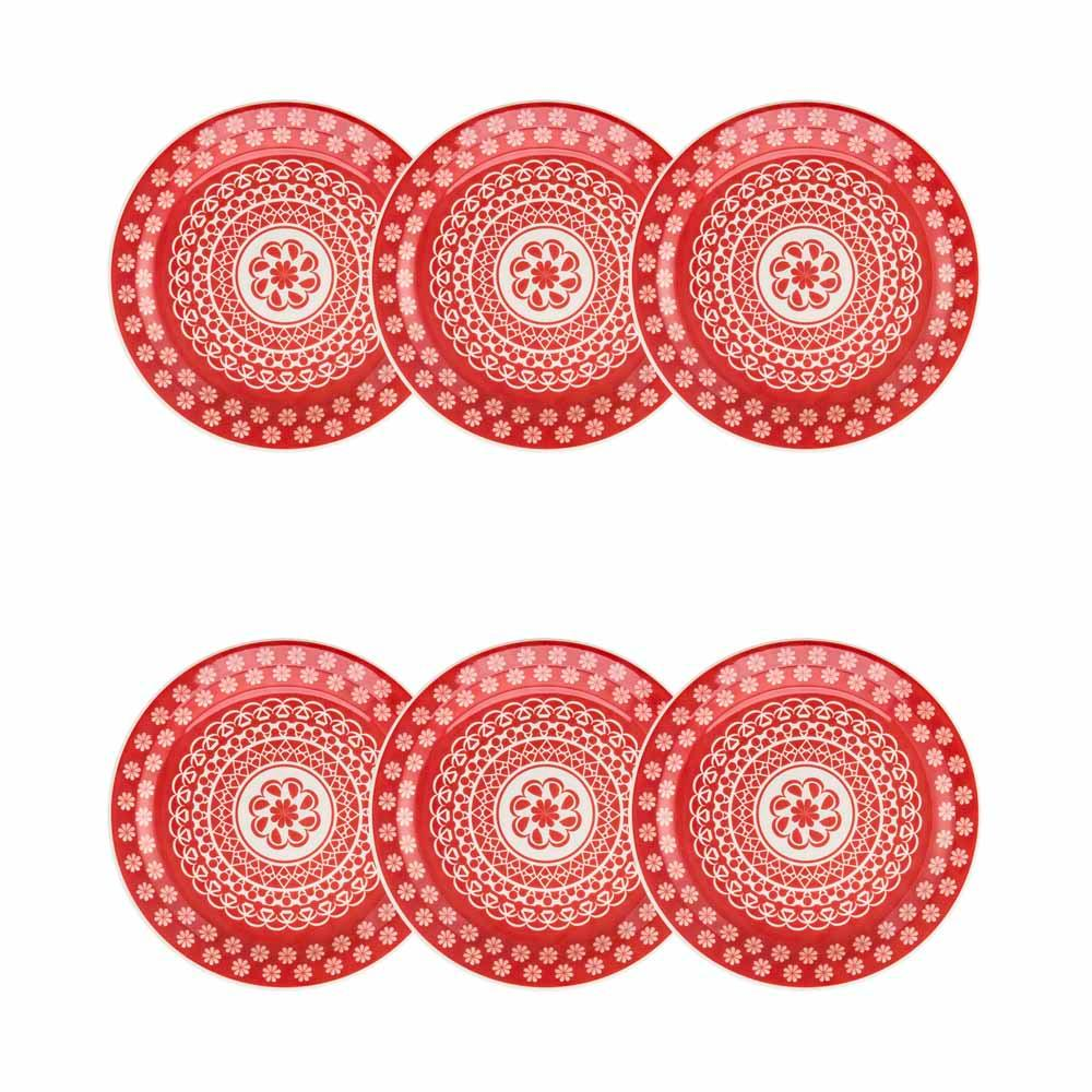 Conjunto de 6 Pratos Sobremesa 20cm Floreal Renda