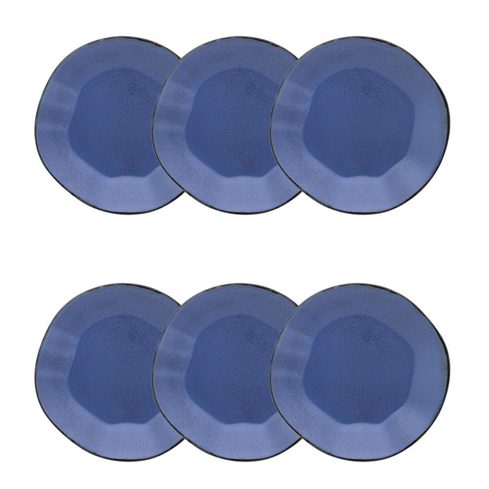 Conjunto de 6 Pratos Sobremesa 21,5cm Ryo Santorini