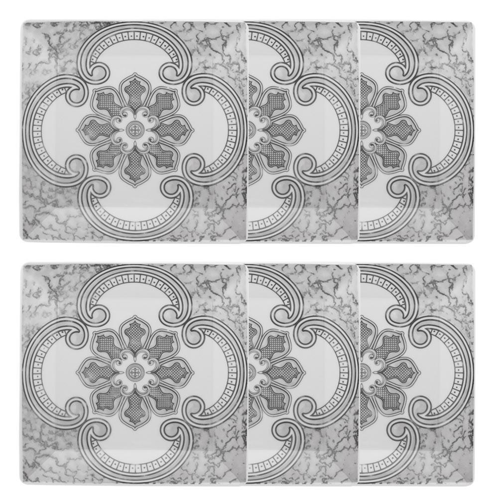 Conjunto de 6 Pratos Rasos 26,5x26,5cm Quartier Pantheon