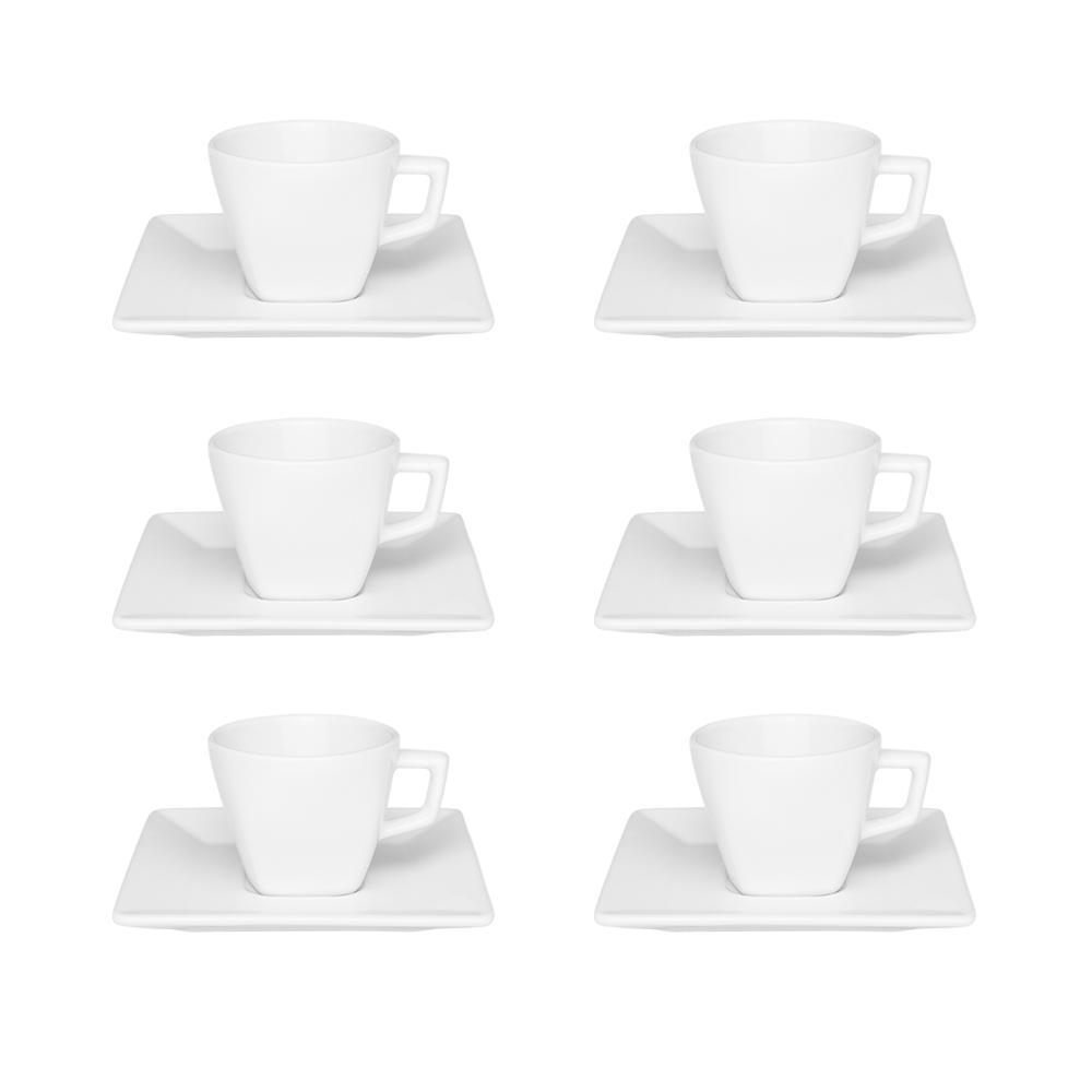Conjunto de 6 Xícaras Pequenas 75ml Com Pires Quartier White