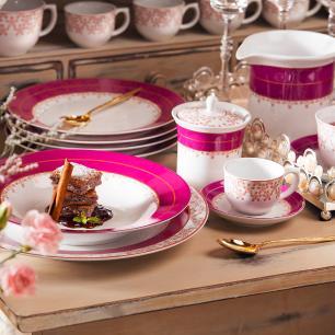 Conjunto de 6 Pratos Sobremesa 22cm Flamingo Dama De Honra