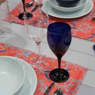 Jogo de 6 Taças Coloridas De Cristal Água 470ml Azul Intenso