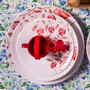 Aparelho de Jantar E Chá 30 Peças Actual Vermelho Amor