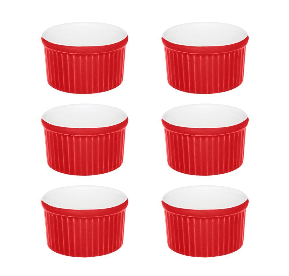 Conjunto de 6 Ramequins 6x3cm 50ml Vermelho e Branco