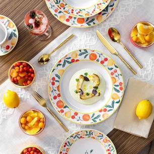 Aparelho de Jantar Chá e Café 42 Peças Flamingo Fruits