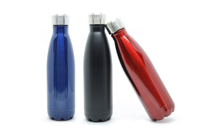 Kit 3 Garrafas Térmicas Squeeze (Azul/Vermelha/Preta)