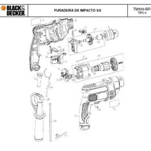 Furadeira de Impacto 3/8 550w Tm500 Black Decker 220V