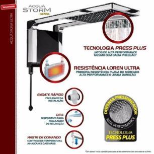 Chuveiro Lorenzetti Acqua Storm Ultra Preto E Cromado 7800W - 220V