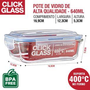 Kit 9 Potes de Vidro 100% Herméticos Qualidade Click Glass
