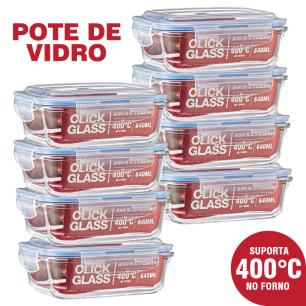 Kit 8 potes de vidro 100% hermeticos Qualidade Click Glass